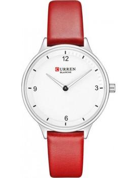 Γυναικείο ρολόι ασημί με κόκκινο λουράκι