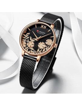 Γυναικείο ρολόι ροζ-χρυσό με μαύρο μπρασελέ
