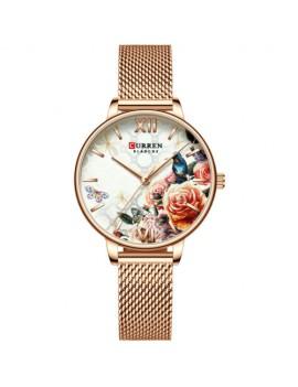 Γυναικείο ρολόι ροζ-χρυσό με πολύχρωμο καντράν
