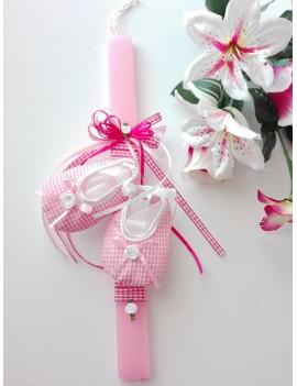 Λαμπάδα ροζ παπουτσάκια