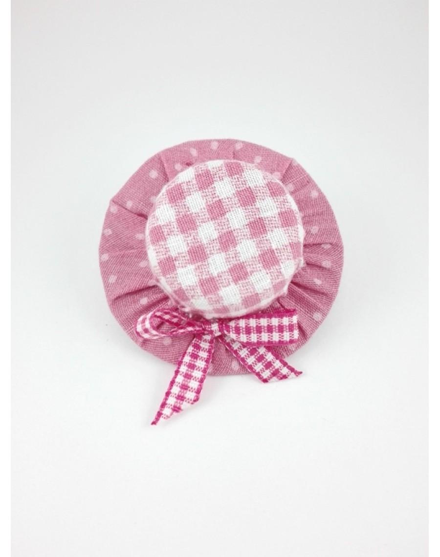 Λάστιχο μαλλιών ροζ καρό   πουά  καπέλο  78145680ad3