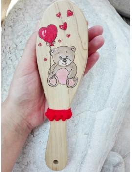 Βούρτσα με αρκουδάκι και καρδιές