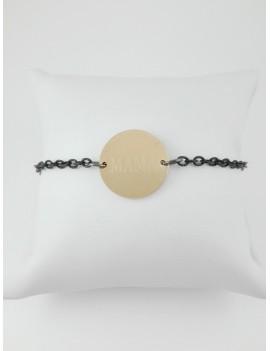 Βραχιόλι ατσάλινο με μαύρη αλυσίδα και στοιχείο 'ΜΑΜΑ' σε χρυσό χρώμα