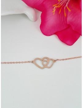 Ατσάλινο βραχιόλι με διπλή καρδιά σε ροζ χρυσό χρώμα