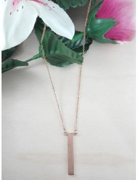Κολιέ ατσάλινο με ράβδο σε ροζ χρυσό χρώμα