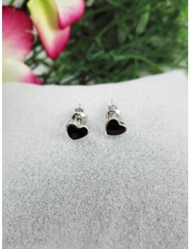 Ασημένια σκουλαρίκια καρδιά με μαύρο σμάλτο