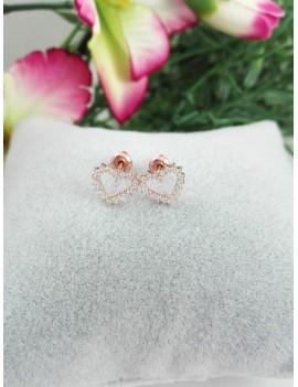 Ασημένια σκουλαρίκια καρδιά με στρασάκια