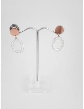 Ατσάλινα σκουλαρίκια με ροζ χρυσό δίσκο και οβάλ στοιχείο με στρας