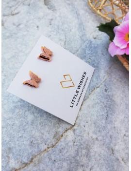 Σκουλαρίκια πεταλούδες ατσάλινες σε ροζ χρυσό χρώμα