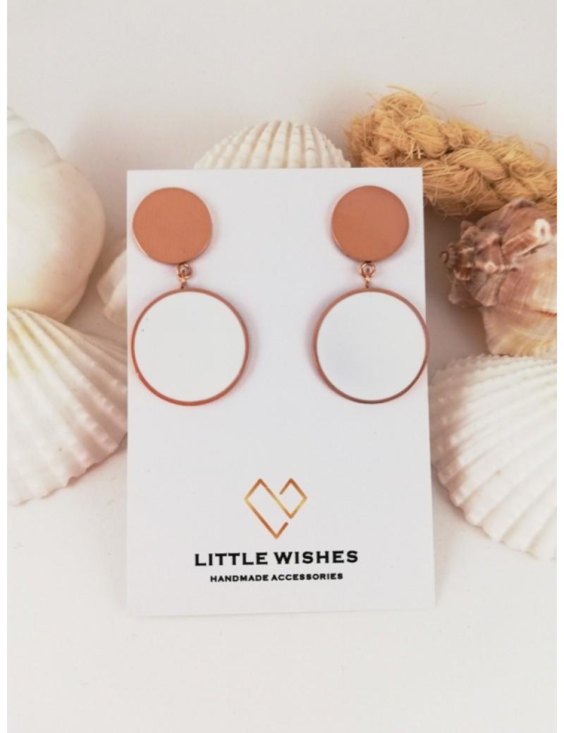 Ατσάλινα σκουλαρίκια με ροζ χρυσό δίσκο και δίσκο με σμάλτο